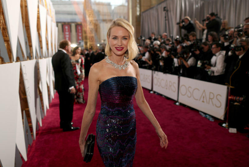 Naomi Watts in Bulgari's Giardini Italiani Necklace at the Oscars.