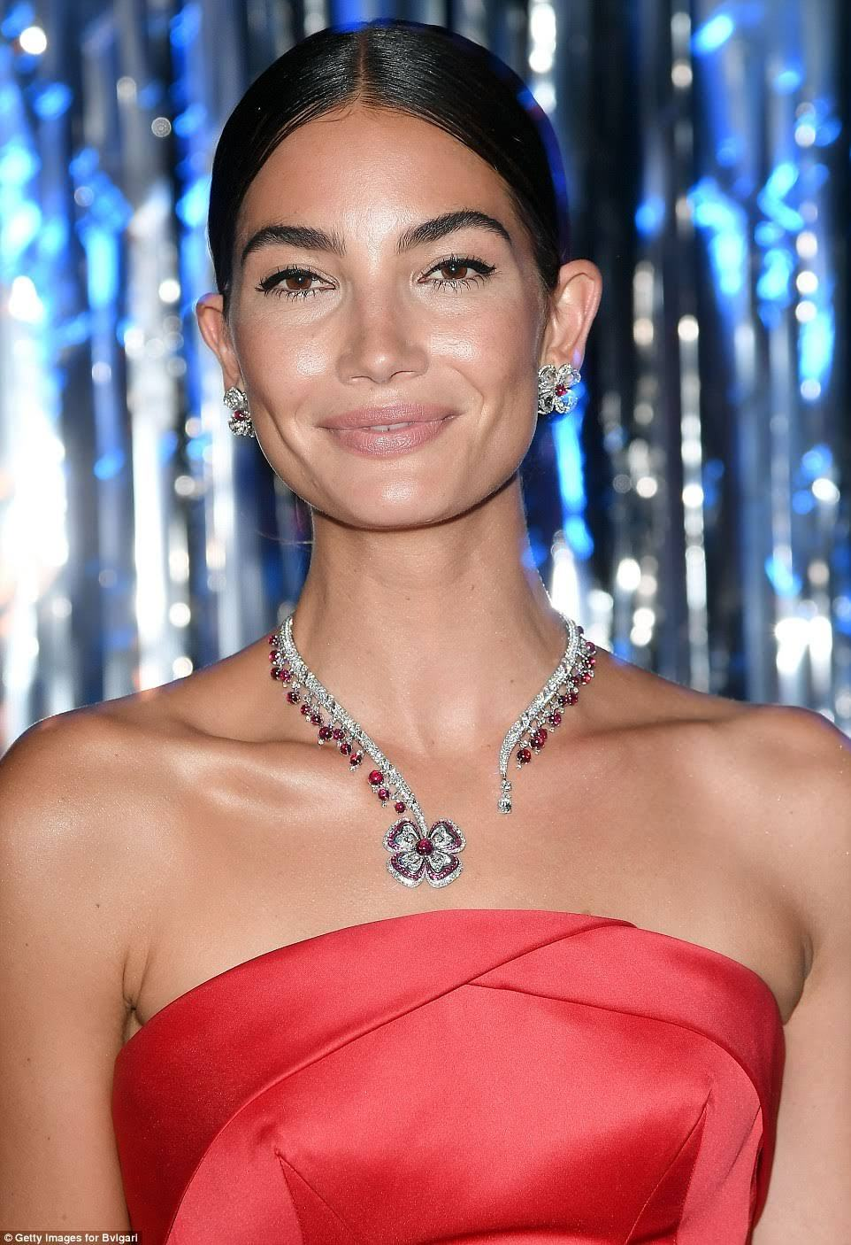 Lily Aldridge is wearing Diamond and Ruby Fiore Di Bulgari Necklace