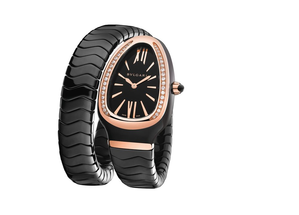 Watch, Serpenti, 35 mm, Case Gold 5N 18kt 750-Ceramic, Dial Black, Bracelet Gold 5N 18kt 750-Ceramic, Bracelet colour Black, 1 loop, Size M, Hour-minute, Quartz, Diamonds-Stones, Partial stting, Diamonds 38 pce, Weight diamonds 0.174 [ct], Weight precious metal 8. 13 [g], Waterproof 30 [m],
