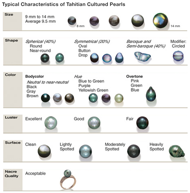 The images in this chart represent typical ranges of size, shape, color, luster, surface, and nacre quality of Tahitian cultured pearls.