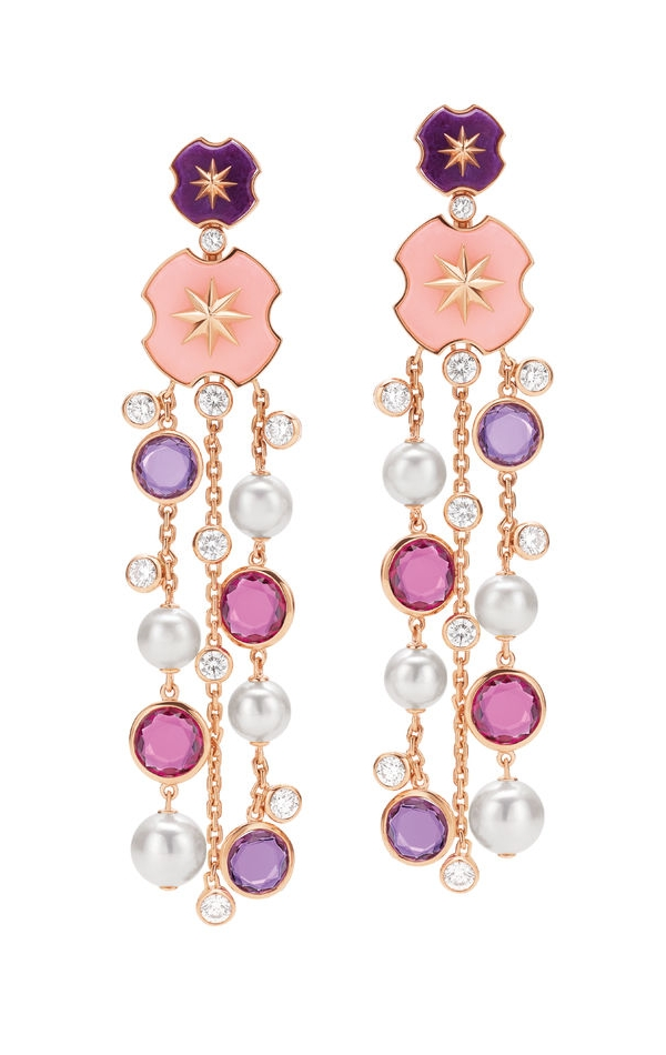 High Jewellery Earrings in pink gold with Sugilite and Pink Opal elements, 8 Akoya pearls, 4 double rose purple Quartzes-Amethyst (3,66ct), 4 double rose reddish Pink Tourmalines - Rubellite (4,54 ct) and 18 round brilliant cut Diamonds (IF - VVS - 2,48 ct).