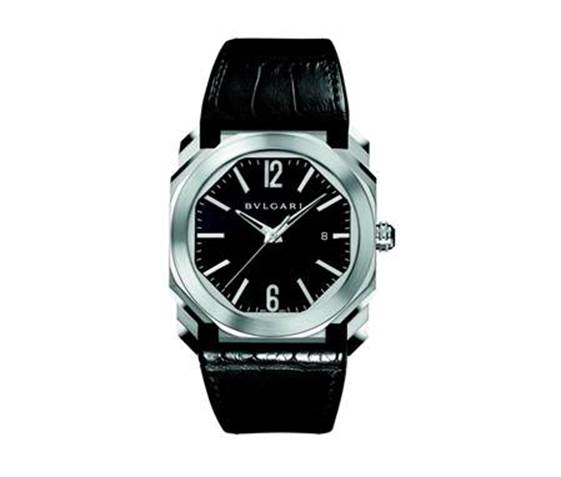 Octo l'Originale automatic watch with date indication, black dial and alligator strap, by BVLGARI