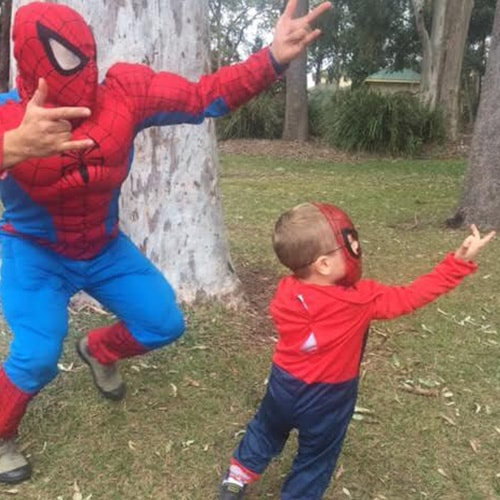 Character Spider Man Entertaining a Child