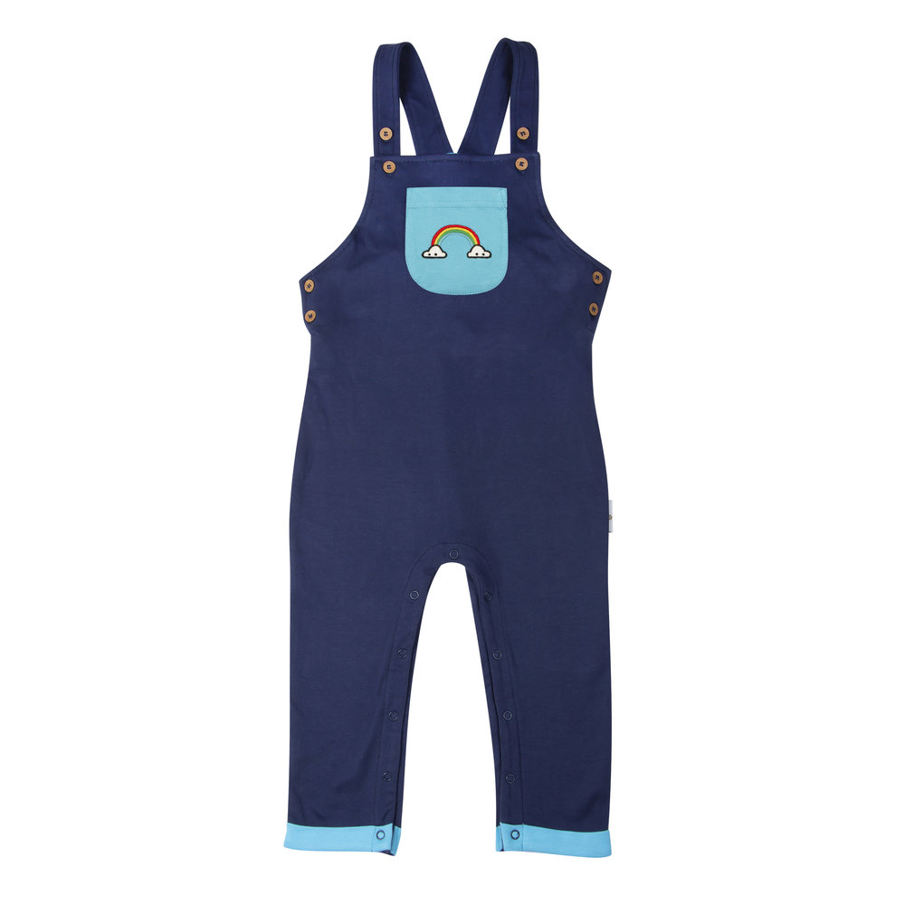 Dungarees -  Rainbow - Navy:Aquarius Pocket (front).jpg