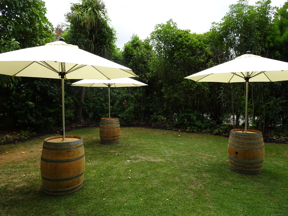 Market Umbrellas & Barrel Stands - Hire  Umbrella $40 +GST, Barrel Stand $25 +gstA stunning shade option for your event, providing additional space to rest your drinks. 6 of each available.Black Concrete Umbrella Stands also available for $10 +gst each.