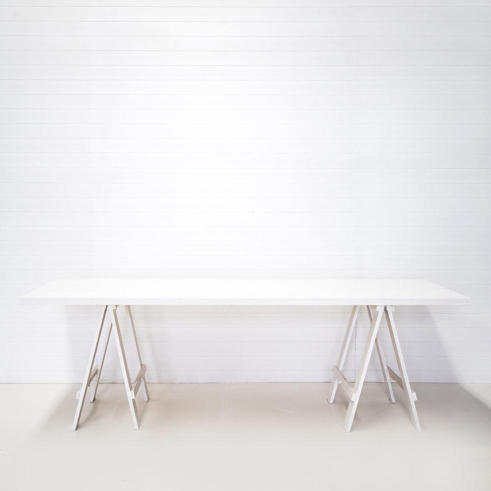 GK White Rustic Trestle Table