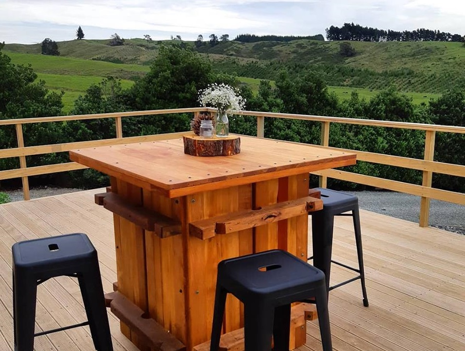 Wool Press Bar leaners - Hire $65 +GSTAmazing custom made Rimu Wool Press Bar Leaners.Our market umbrellas and black stools can be added to make these into real show stoppers!