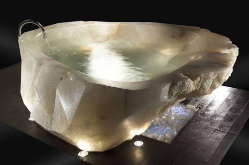 A bath tub cut out of a large single piece of Quartz crystal