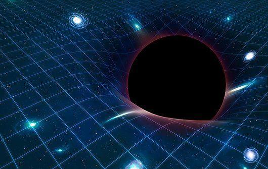 Black hole warping space-time, computer artwork.