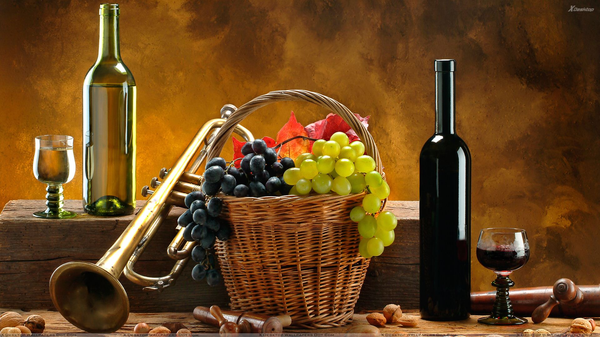 Wine-Bottle-N-Grapes-Basket