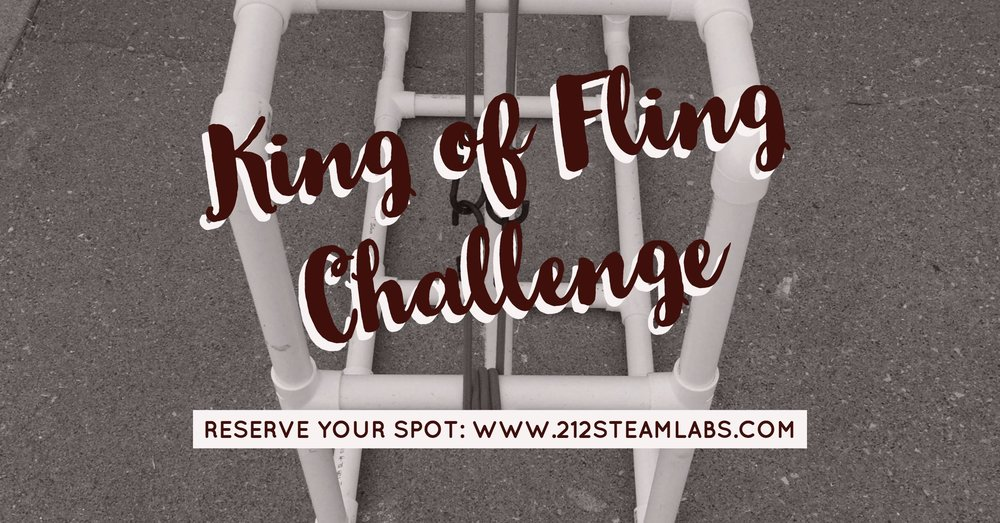 Come join the fun! On October 1st we will be hosting our first annual King of Fling. This is a great activity for families and the community to design an ancient engineering device such as a catapult or trebuchet to see who can launch an object the farthest.  This is designed to have fun in engineering and problem solving. Here is how the schedule works 11:30 - 12:00: Registration and pickup of materials 12:00 - 2:00: Build, design, prototype and create your device 2:00 - 3:00: Launch and clean up To register please go to https://www.eventbrite.com/e/king-of-fling-challenge-a-family-engineering-event-tickets-37690938612 The cost of the event covers the cost of materials. Any additional money earned will be put back into the nonprofit to purchase more equipment and materials for future classes. Here is a list of materials for you to build on the day of the event. 20 foot of 3/4 inch PVC 10 foot 1 inch PVC 10 T Shape PVC pieces 8 45 degree PVC pieces 1 1inch cross PVC 1 inch PVC cap Hanger Duct Tape PVC Glue String Object to launch Tools will be provided such as miter saw and box, pvc cutters, tape measure, glue, duct tape, safety glasses, etc. Depending on what you construct we will use human power or bungee cords to power your device.