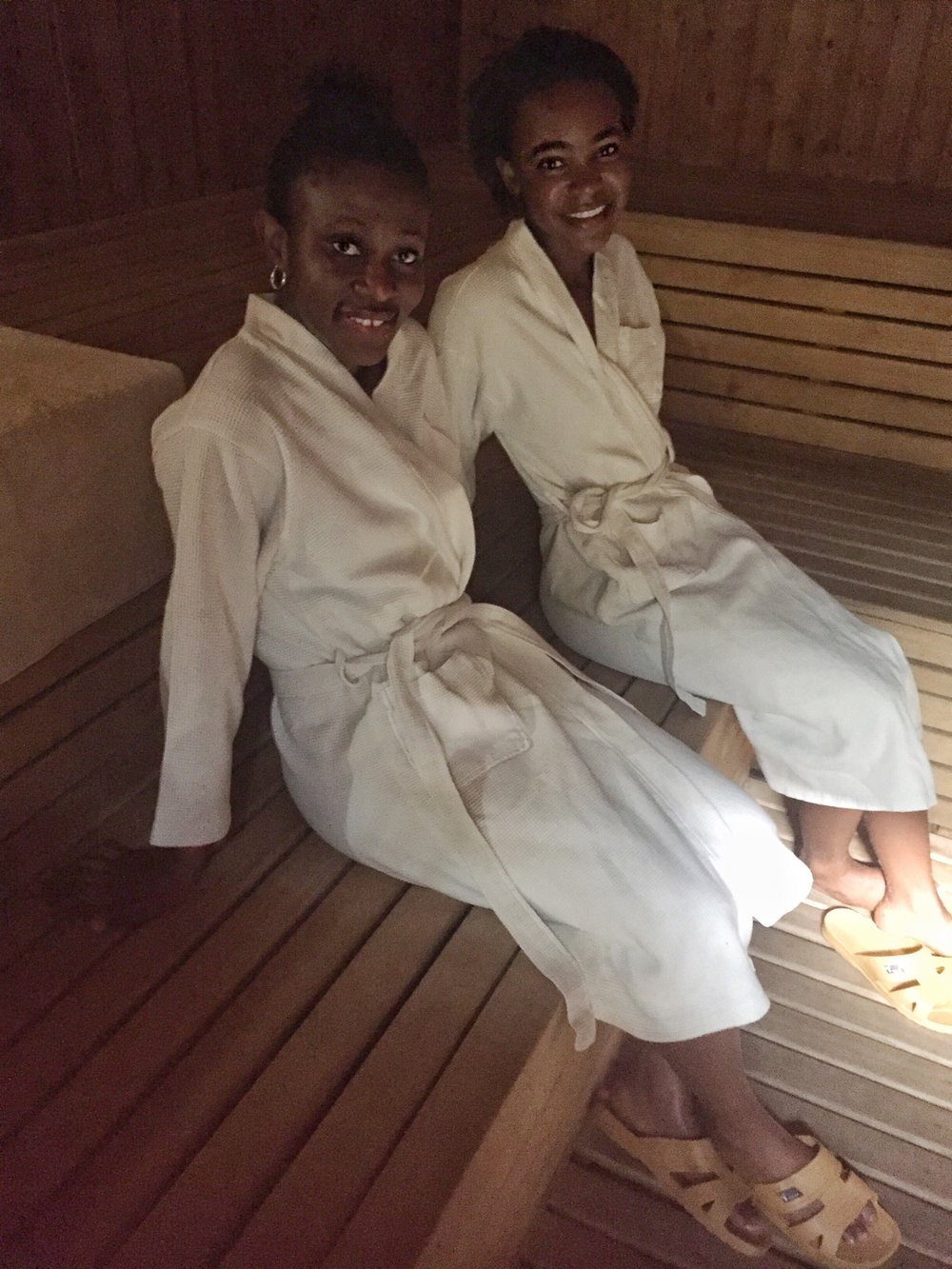 Here we are getting ready to enjoy ourselves in the sauna room.