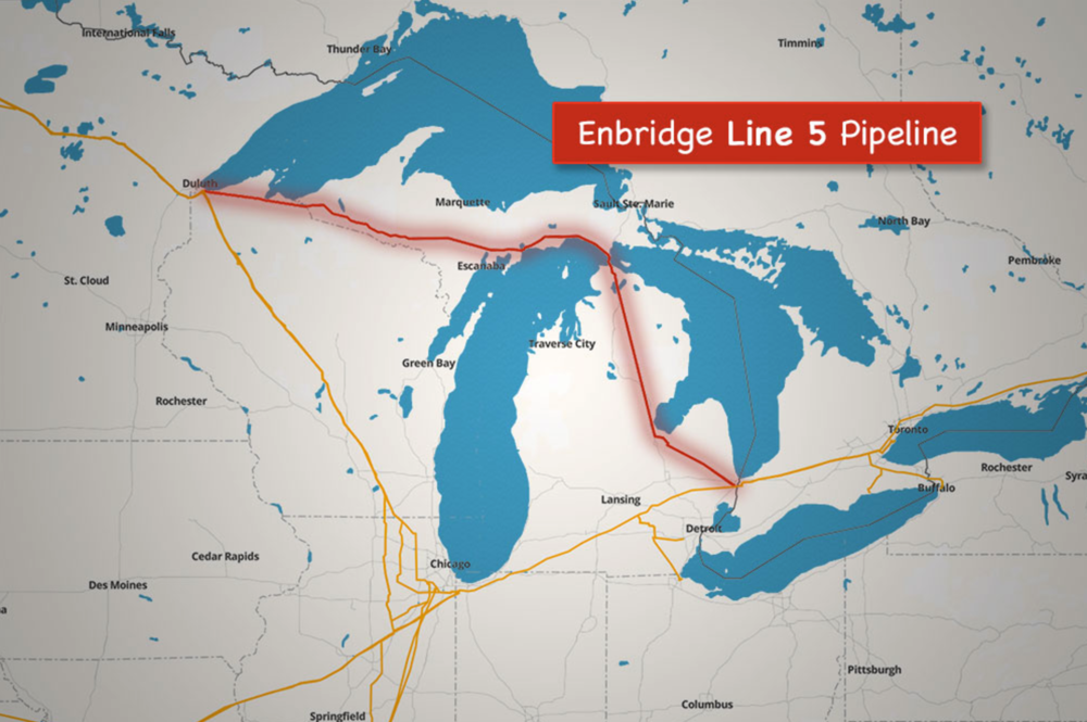 This map shows the 645 mile route of oil pipeline known as Line 5. It is a shortcut to benefit the Canadian company, Enbridge, for exporting it's oil while we take enormous risks.  Line 5 crosses many ecologically sensitive wetlands and waterways, but none are as vulnerable as Line 5's path under the water in the Straits of Mackinac where the currents are strong.  There is 10 times more flow in the Straits than there is over Niagra Falls!  In addition to concerns of its 65 year old, poor condition, there is the hazard of a dropped anchor rupturing the pipeline which became all too real in April 2018 when an anchor drop broke two electrical cables spilling over 600 gallons of oil - and putting 3 dents in the already deteriorating Line 5 nearby. This should serve as a huge wake up call. Line 5 is operated by the same Canadian company, Enbridge, responsible for the oil spill in 2010 that closed 35 miles of the Kalamazoo River for 2 years - and another large spill in Minnesota.   A tunnel is a distraction.  Michigan does not need the oil in Line 5. We can remove the risk that transporting oil poses by shutting down Line 5. Even the  vice-chair of the Mackinac Bridge Authority is against it .