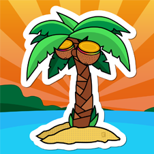 It's A Beach Party This Fall - In the first of our new series of designer-inspired stickers, Chris Silverman presents Beach Party.This design is currently available to beach-minded brands.Simply select your music and this design is ready for print.
