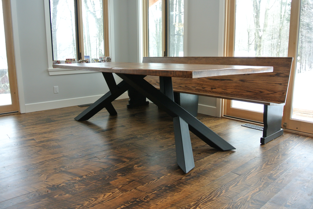 The Scotts were looking for a unique table to seat everyone in their growing family. They had barn board from their Grandfather's Barn that they were looking to use for the table. So the natural inspiration for a base was a tree... This table is deeply rooted in history & will be around for generations to come.