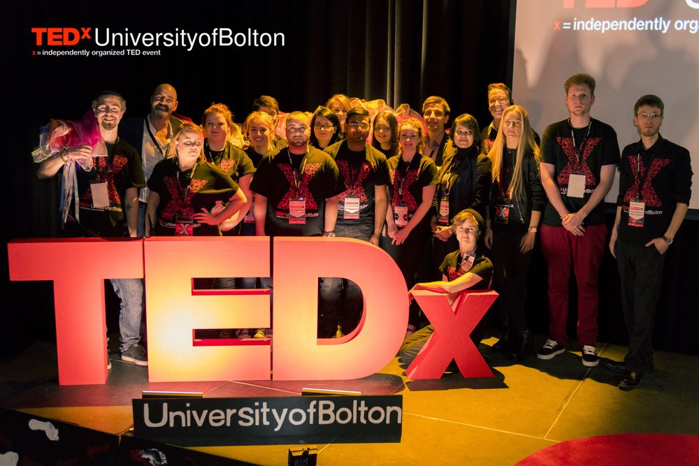 All crew members and speakers of TEDx UniversityofBolton 2016. First student-led TEDx event!