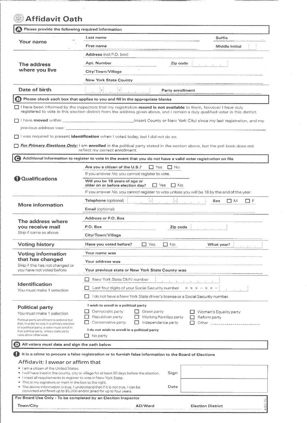Appendix B: Affidavit Ballot Envelope