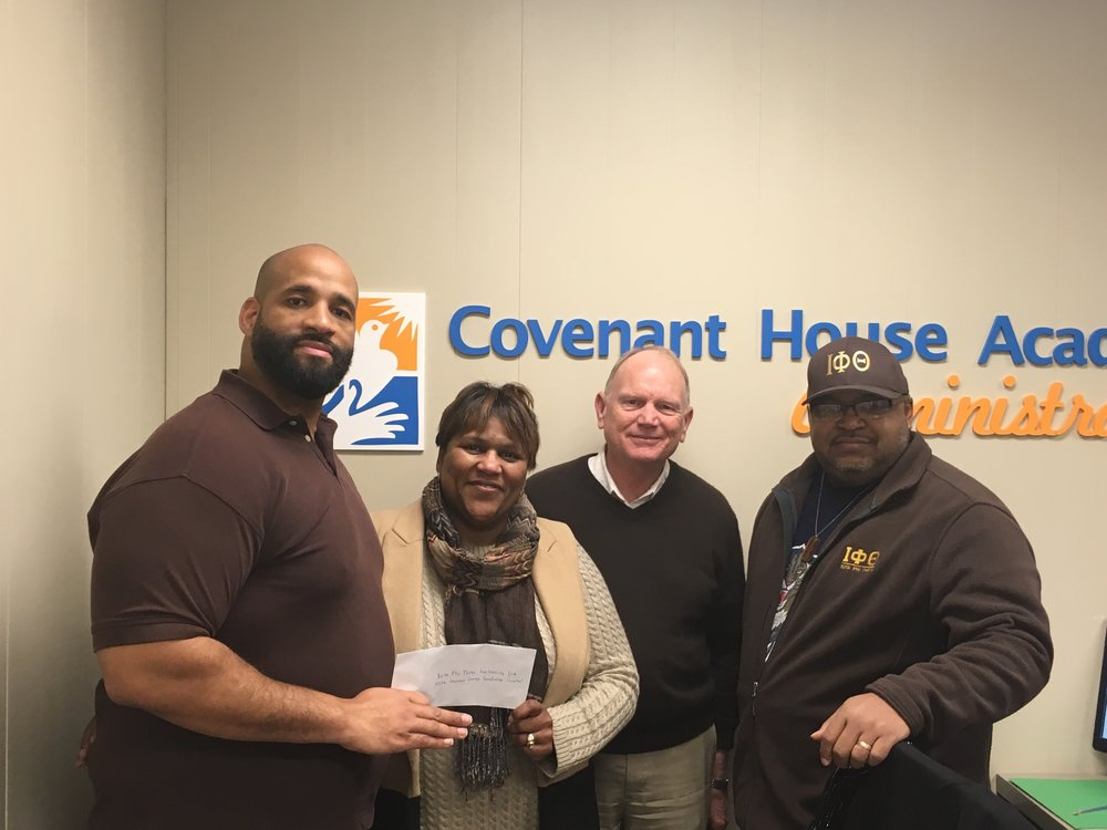 Many thanks to Marcus Harris, Marvin Gaines and the Iota Phi Theta Fraternity for presenting a donation to Covenant House Academy-Detroit!! The donated funds were from a Bowling Day event hosted by them just for us. Again, we say thank you and we look forward to the Community Services partnership with you in our academies!