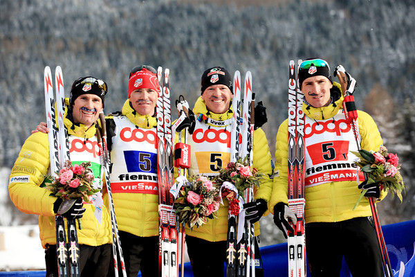 Your 2013 world champion bronze medalist Nordic combined team from the United States: Taylor Fletcher, Billy Demong, Todd Lodwick and Bryan Fletcher, all sporting American flag mustaches // photo courtesy Sarah Brunson and U.S. Ski TEam