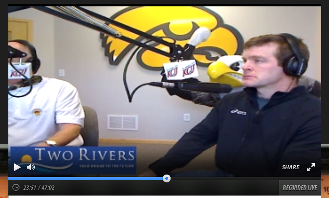 University of Iowa wrestling coach Terry Brands talking straight on The Mighty 1630 station KCJJ // screen shot
