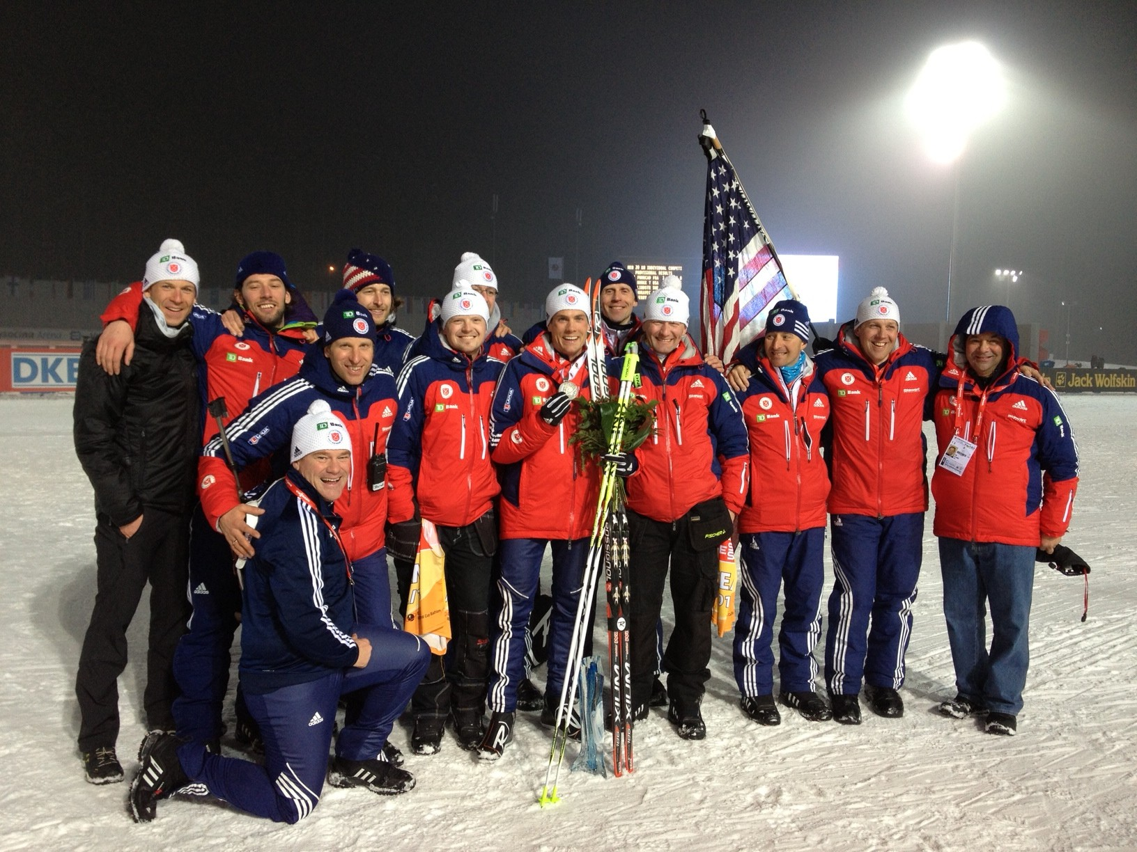 The U.S. men's biathlon team celebrates Tim Burke's silver // photo courtesy Nordic Focus and U.S. Biathlon