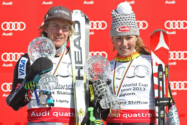 Ted Ligety and Mikaela Shiffrin with their crystal globes, his for giant slalom, hers for slalom // photo courtesy of Mitchell Gunn ESPA and U.S. Ski Team
