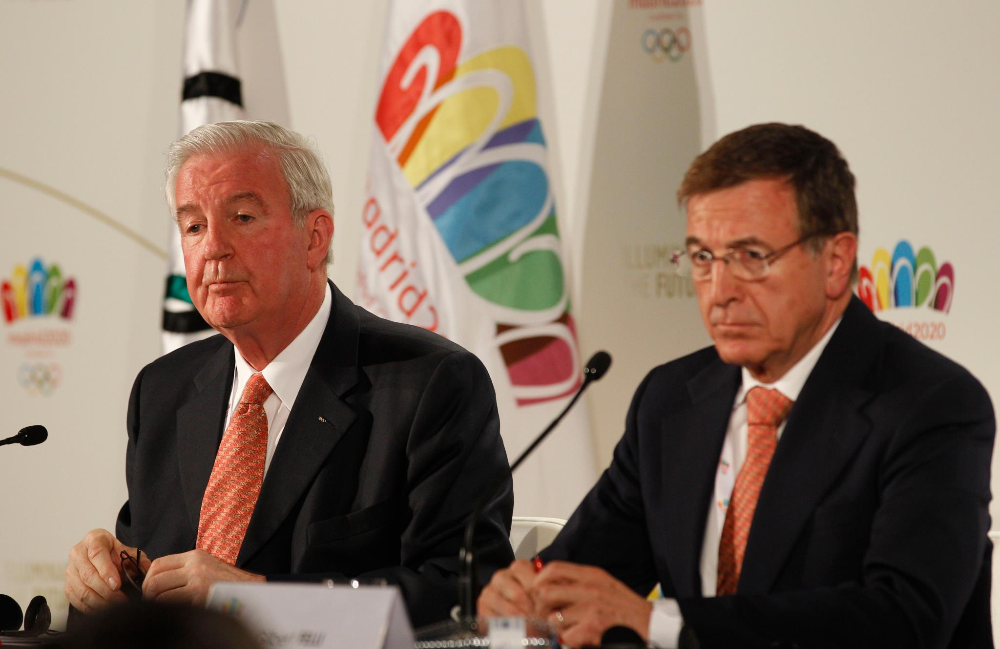 Sir Craig Reedie, left, chairman of the IOC evaluation commission, and Gilbert Felli, the IOC's Games executive director, at the closing news conference // photo courtesy Madrid 2020