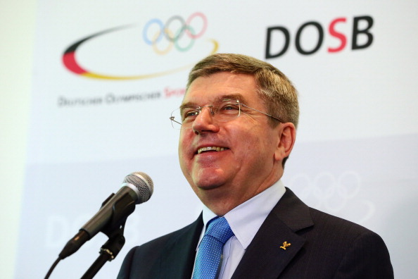 Thomas Bach at the news conference in Frankfurt, Germany, announcing his intent to run for the IOC presidency // photo: Getty Images