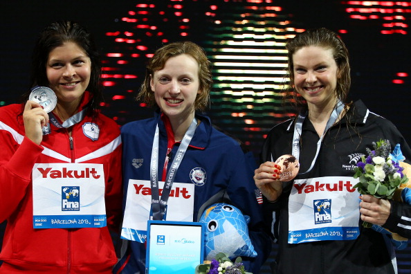 Lotte Friis of Denmark, Katie Ledecky of the United States and Lauren Boyle of New Zealand with their 1500-meter medals // Getty Images