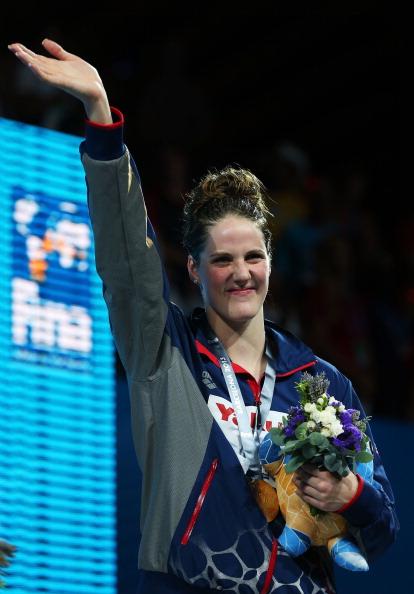 Missy Franklin on the medals stand after her 200-meter freestyle victory // Getty Images