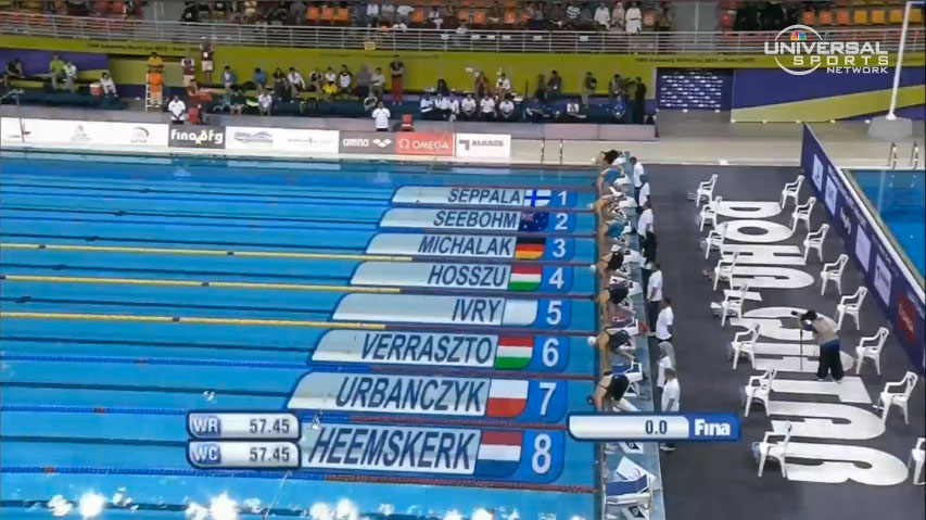 The start of the women's 100-meter individual medley  at the Doha World Cup event // photo courtesy Universal Sports Network