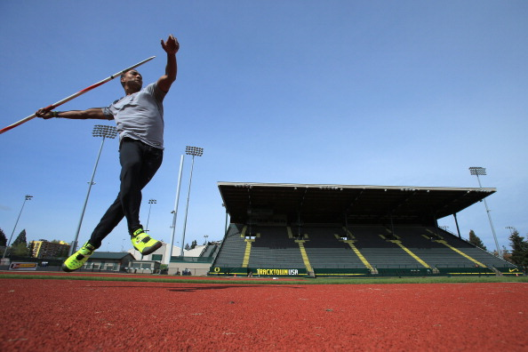 Decathlon champion Ashton Eaton practices earlier this year at venerable Hayward Field in Eugene, Oregon // photo Getty Images