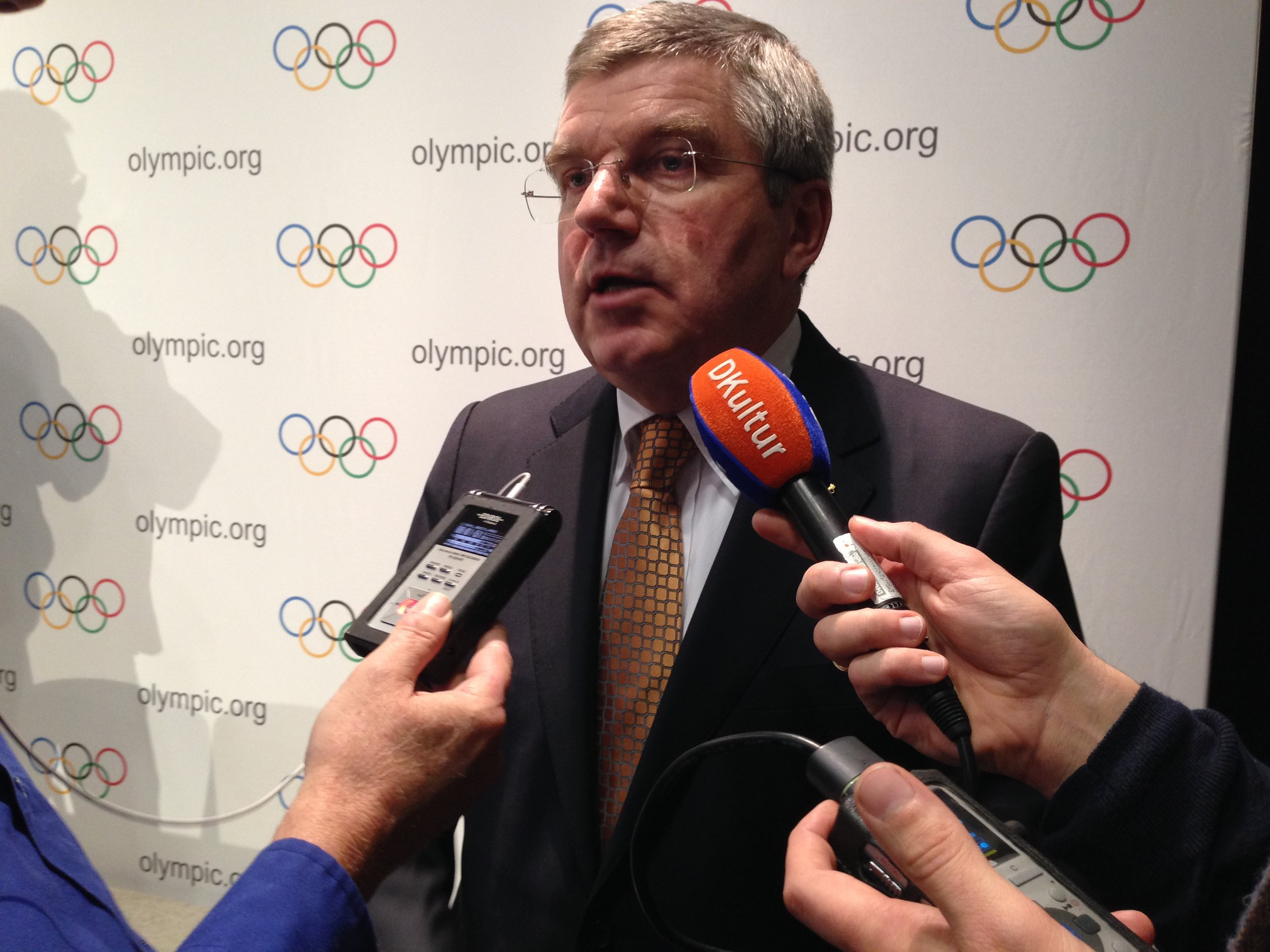 IOC president Thomas Bach at a news conference after chairing his first executive board meeting