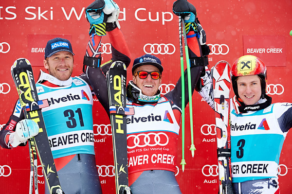 Bode Miller, Ted Ligety, Marcel Hirscher after Sunday's racing in Beaer Creek // photo Jesse Starr Vail Resorts courtesy U.S. Ski Team