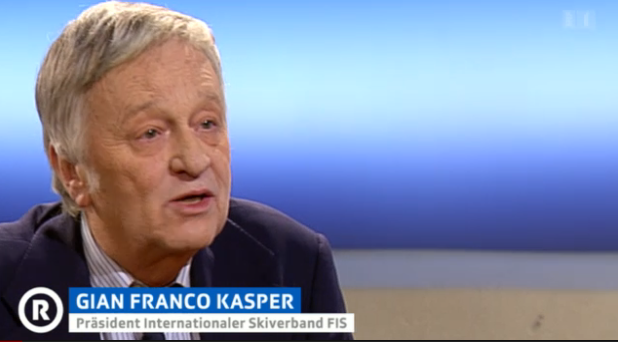 Ski federation president Gian-Franco Kasper speaking on Swiss TV