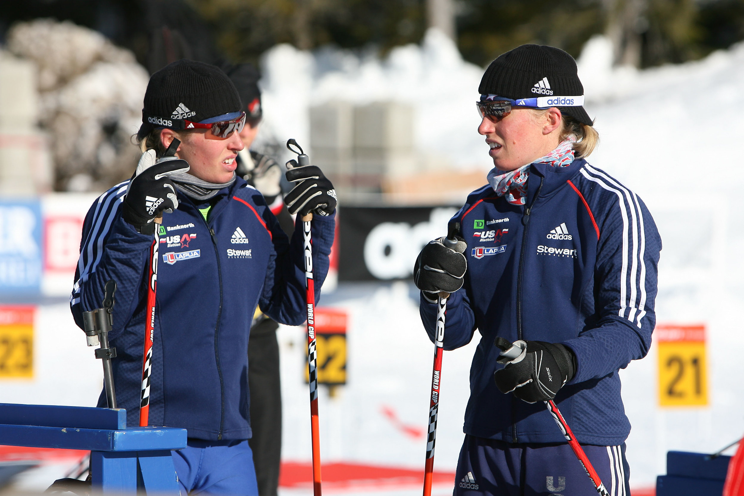 Tracy (left) and Lanny Barnes at a biathlon event in Vancouver // photo courtesy US Biathlon/Nordic Focus