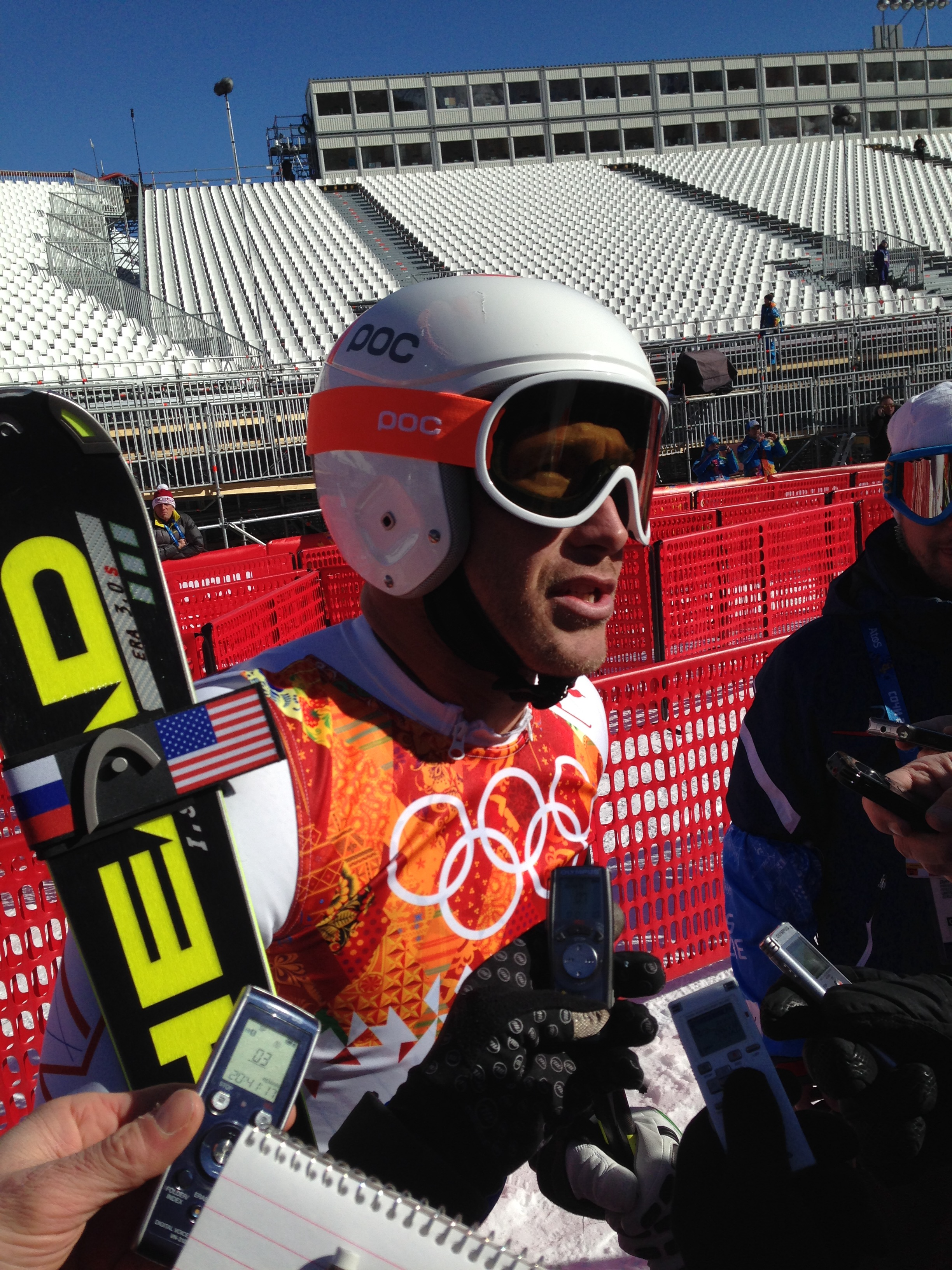 Bode Miller meets the press after Thursday's downhill training at Rosa Khutor