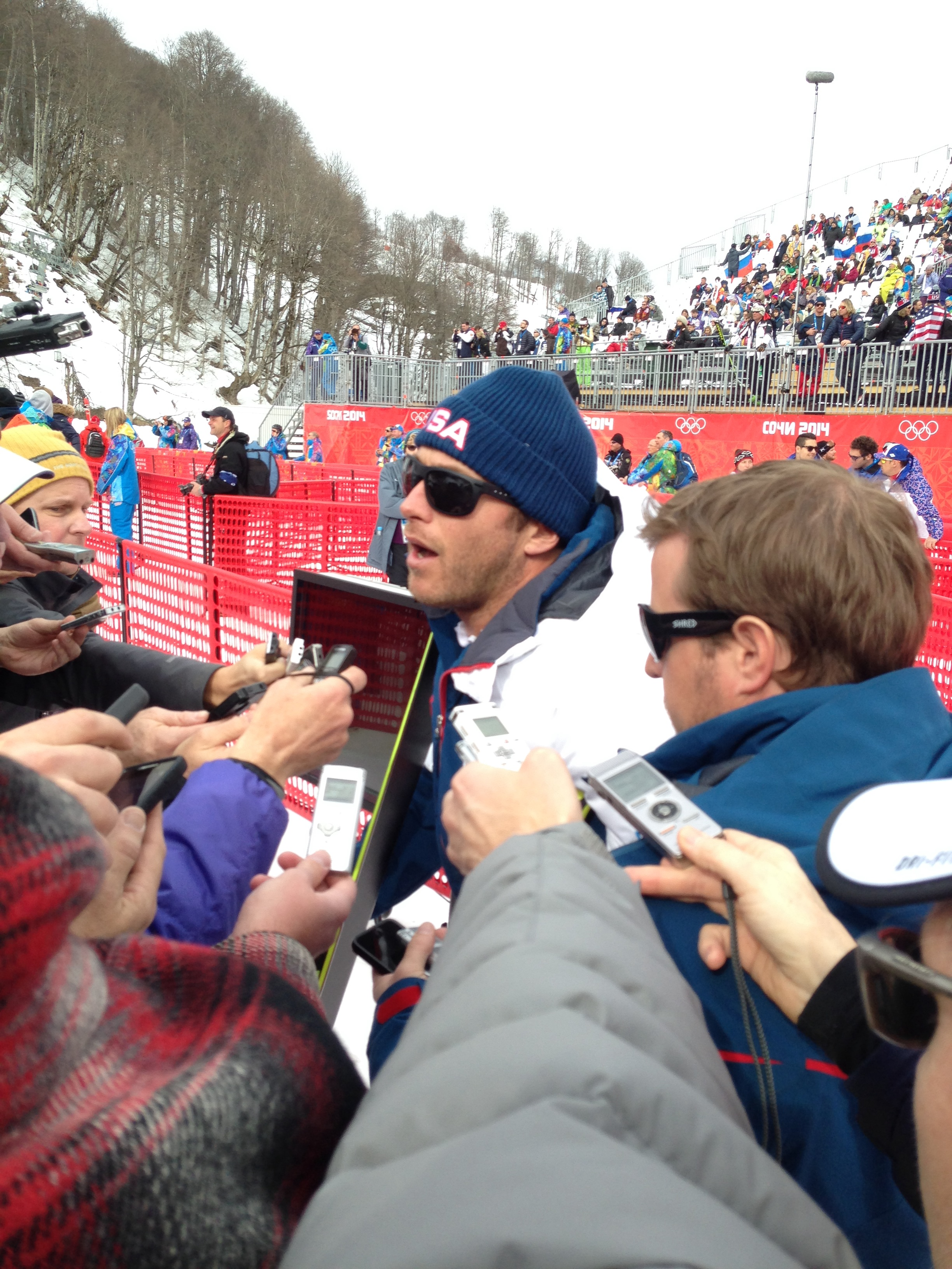 The media crowd encircling Bode Miller after his eighth-place finish in the Olympic downhill