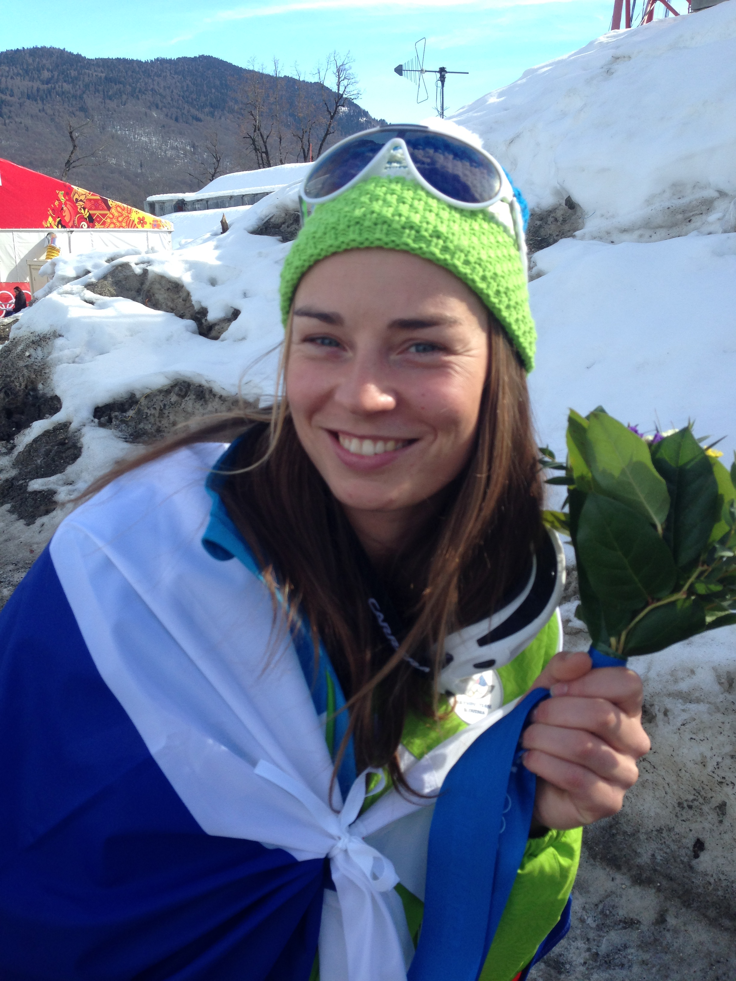 Tina Maze of Slovenia, co-gold medalist in the women's downhill