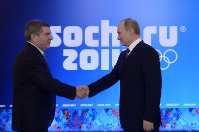 IOC president Thomas Bach and Russian president Vladimir Putin Tuesday in Sochi // photo courtesy Russian president's office