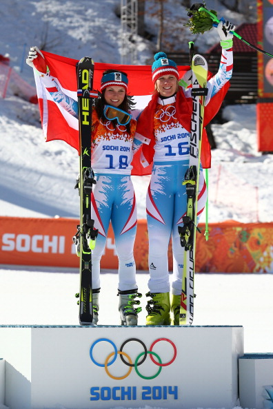 Anna Fenninger, left, and Nicole Hosp on the podium after the super-G // photo Getty Images