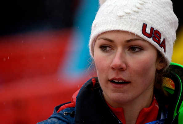 Mikaela Shiffrin after Tuesday's racing in the snow, sleet, rain and fog // photo Getty Images