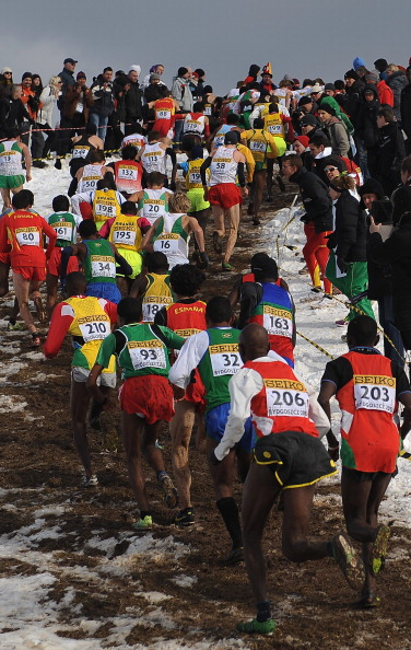 The snowy scene at the 2013 world cross-country championships at Bydgoszcz, Poland // photo Getty Images