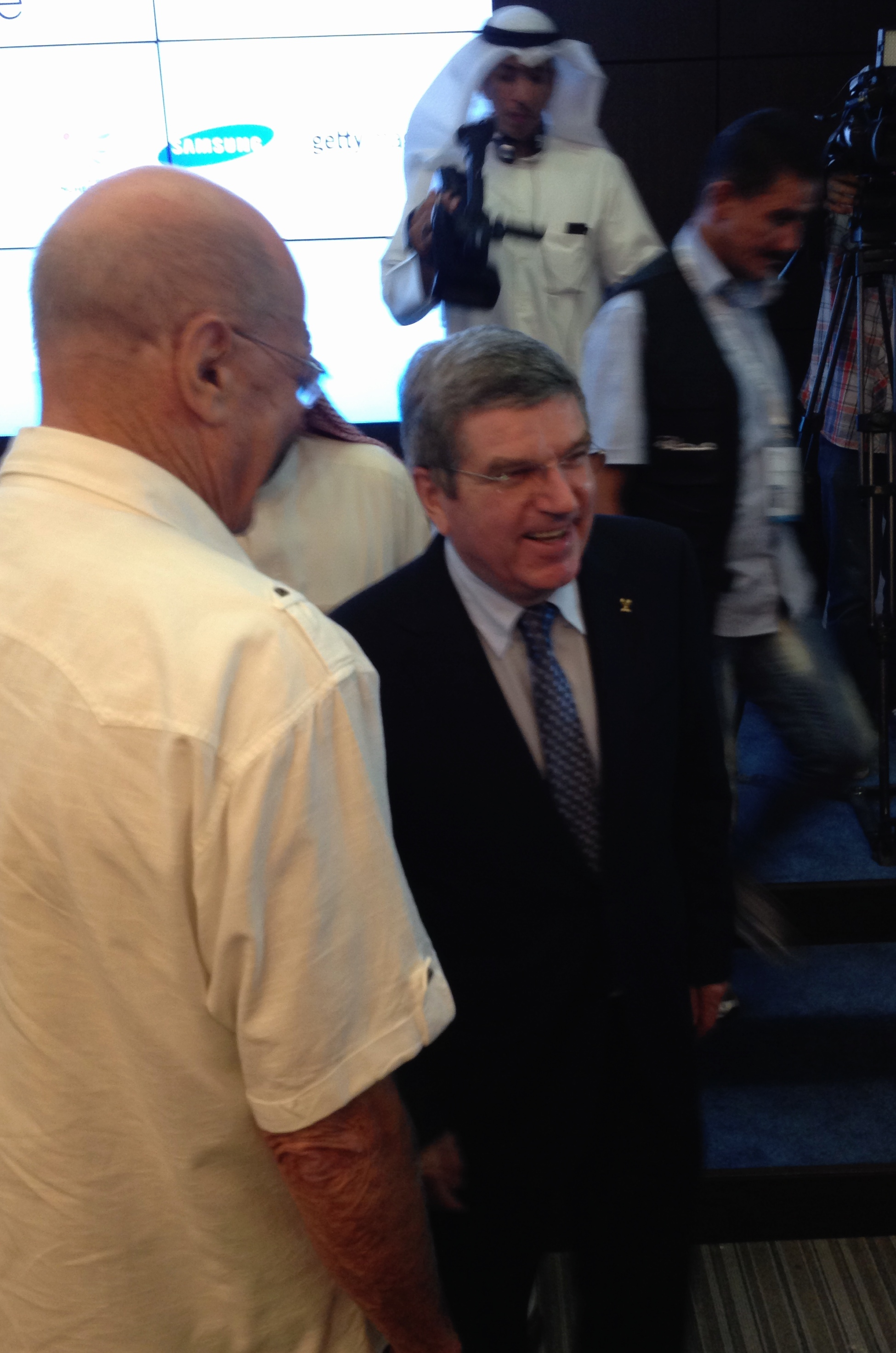IOC president Thomas Bach and honorary member R. Kevan Gosper of Australia at Sunday's news conference