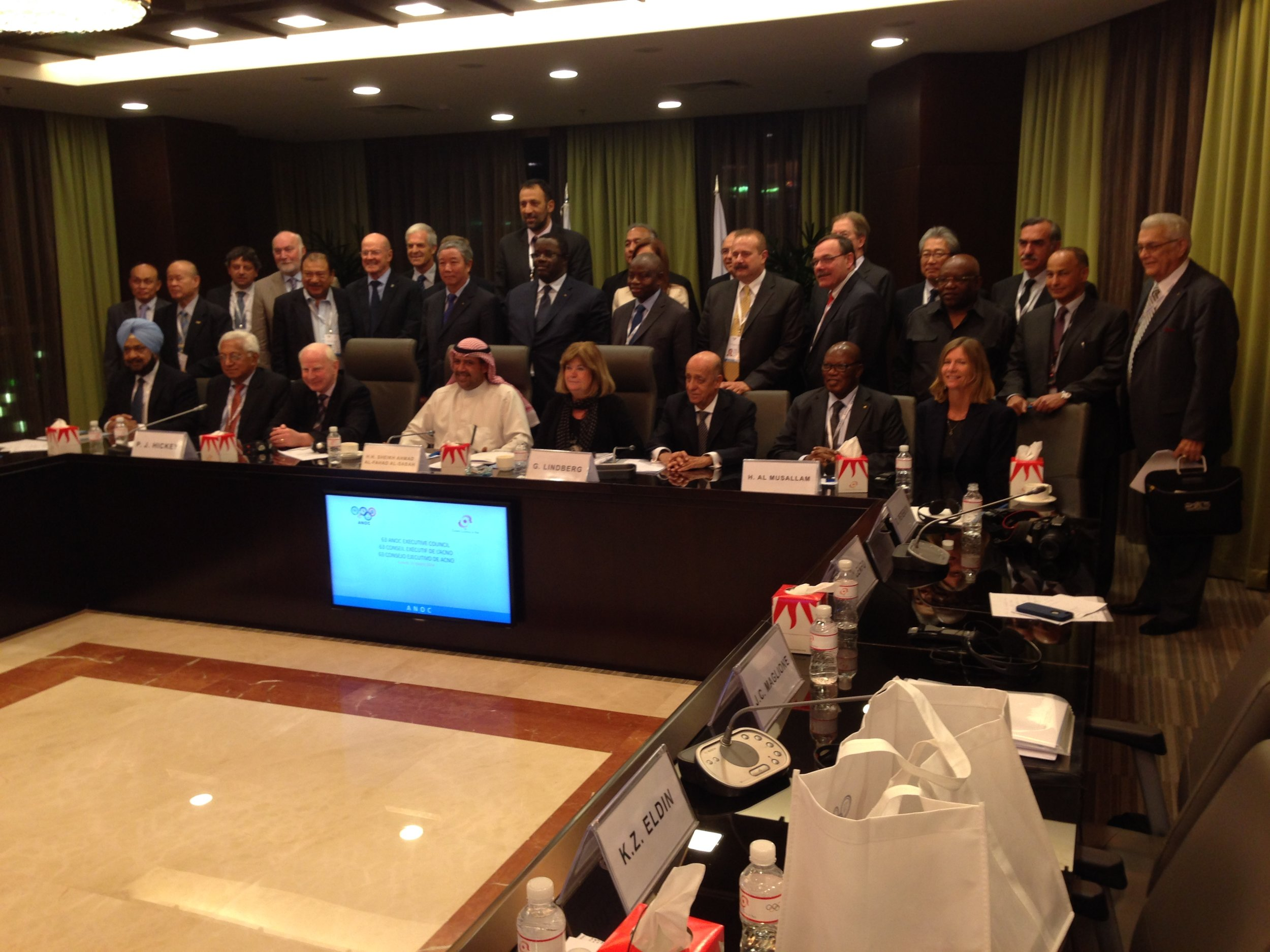 ANOC dignitaries, with Sheikh Ahmad at the center, before Monday's news conference