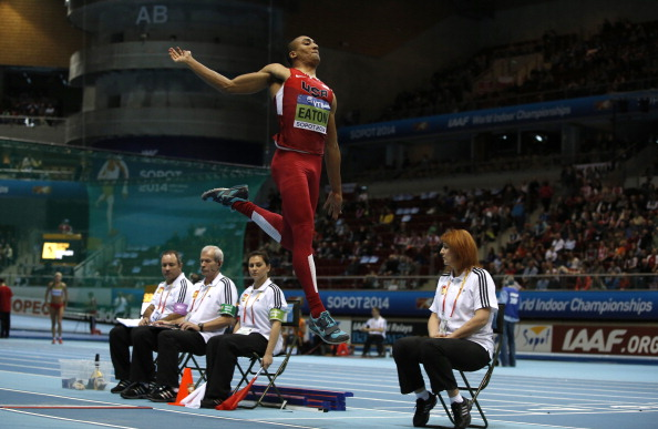 Ashton Eaton in the long jump portion of the heptathlon // photo Getty Images