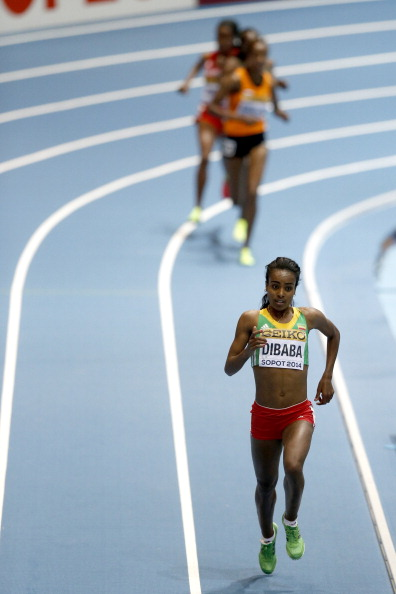 Ethiopia's Genzebe Dibaba winning the women's 3k // photo Getty Images