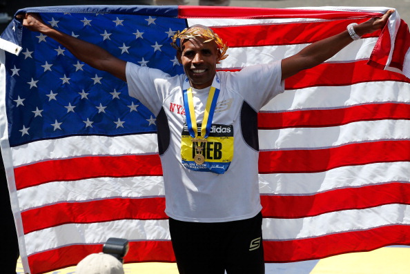 Meb Keflezighi celebrates after winning the Boston Marathon // photo Getty Images