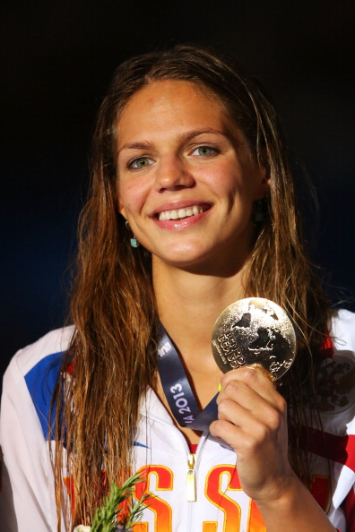 Yulia Efimova after winning the 50 breaststroke at last year's world championships in Barcelona // photo Getty Images