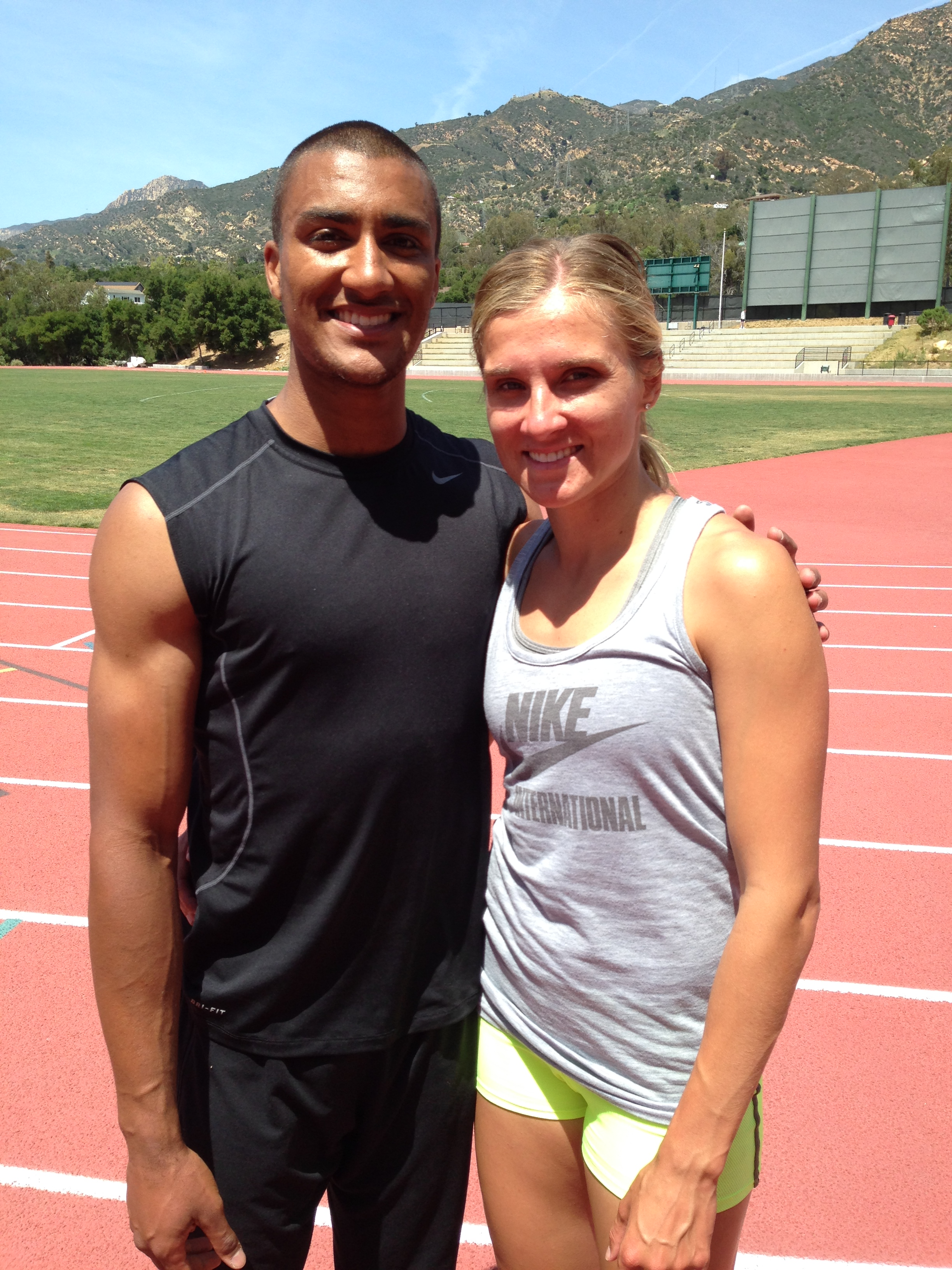 Ashton Eaton and Brianne Theisen Eaton after practice at Westmont College